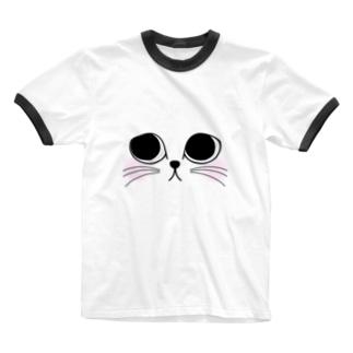 neko.(ホワイト) Ringer T-shirts