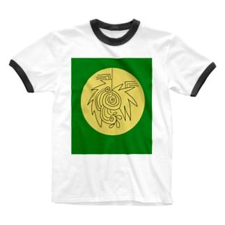 JUNSENSETA(瀬田純仙)文明7円盤の石碑 Ringer T-shirts