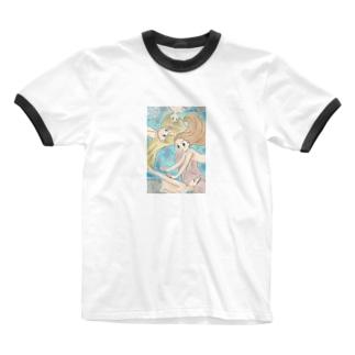 マーメイドさん Ringer T-shirts