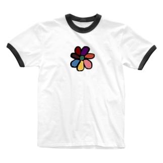 colorfulなフラワーだあ Ringer T-shirts