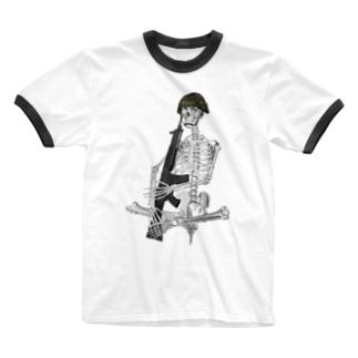 89式小銃を抱える骨格 Ringer T-shirts
