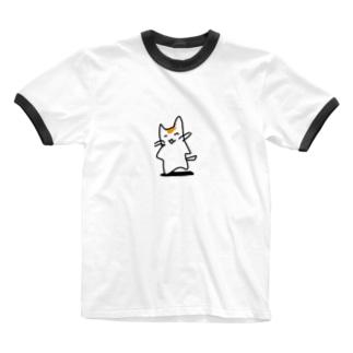 ねこちゃん😸 Ringer T-shirts