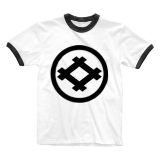 丸に井桁 Ringer T-shirts