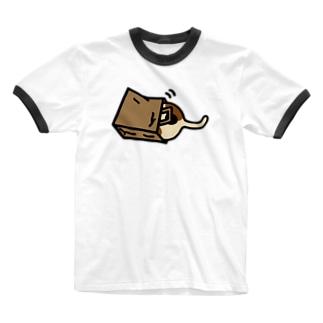 袋に突っ込むぽちゃねこ Ringer T-shirts