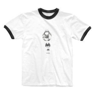 点々で水滴。 Ringer T-shirts