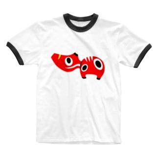 赤べこさん Ringer T-shirts