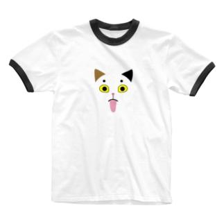 猫のしらたまちゃん Ringer T-shirts