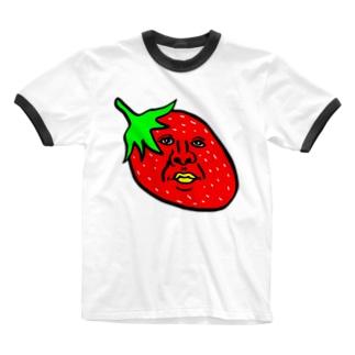 イチゴのかずや 横向き Ringer T-shirts