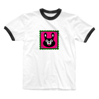 rocoのBLACK BUNNY 001 square Ringer T-shirts