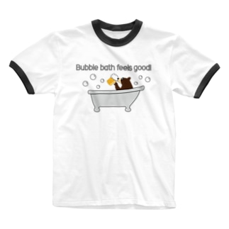 ビールベアー イン バブルバス Ringer T-shirts