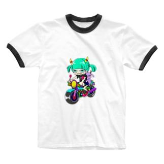 やぎさんぽ ¨̮の補助輪娘 Ringer T-shirts