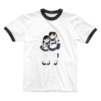 萌え〜なメイドさん Ringer T-shirts