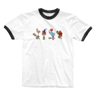 ふらぺんぞうさる(からふる) Ringer T-shirts