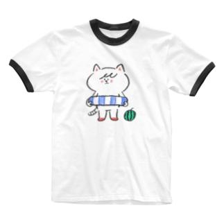 ポシェットにゃんこ協会 Ringer T-shirts