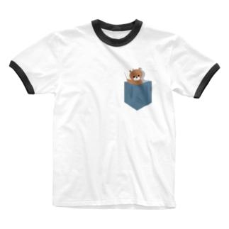 くまたinポケット。 Ringer T-shirts