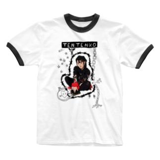 テンテン商店 in SUZURIのテンテンコ お絵かきシリーズ~☤交感神経☤~ Ringer T-Shirt