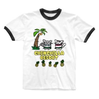 チンチラリゾート Ringer T-shirts