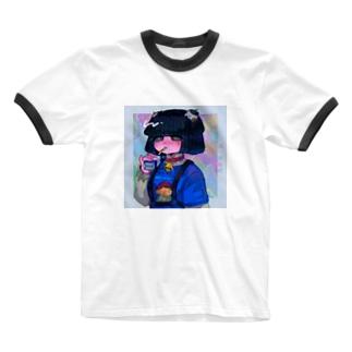 牛乳ごっくん女子 Ringer T-shirts