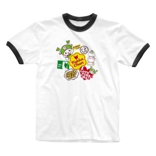 ステッカーぺたぺた風 Ringer T-shirts