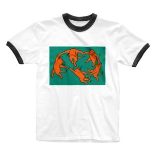 ネコのダンス Ringer T-shirts