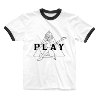 PLAY GIRL(期間限定販売)白ボディ推奨 Ringer T-shirts