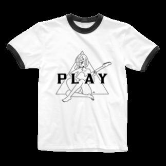 マチダタケルのPLAY GIRL/白ボディ推奨 Ringer T-shirts