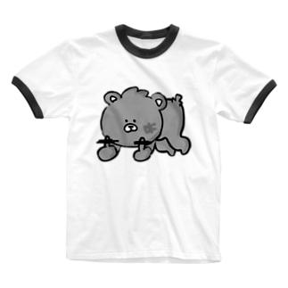 凸くま。 Ringer T-shirts