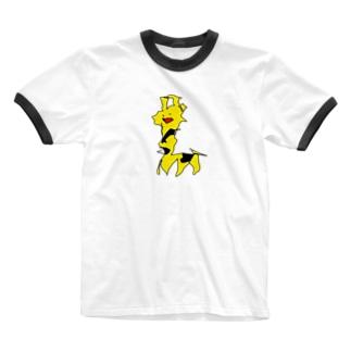 足で描いたきりん Ringer T-shirts
