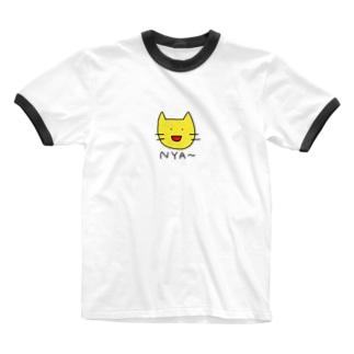 にゃー(きいろ) Ringer T-shirts