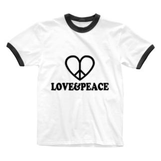 ラブ&ピース Ringer T-shirts