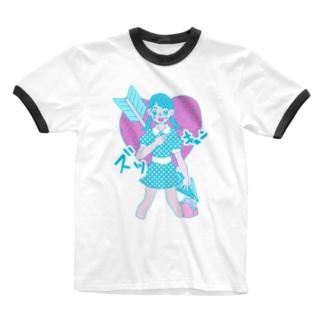 ズッキュン Ringer T-shirts