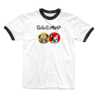 わんこバッチ Ringer T-shirts