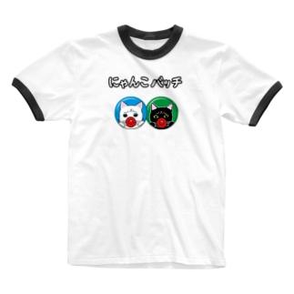 にゃんこバッチ Ringer T-shirts