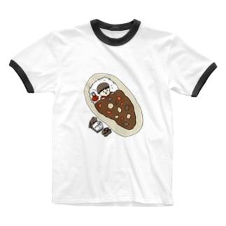 カレー有給休暇 Ringer T-shirts