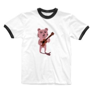 ぴん君 Ringer T-shirts