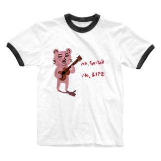 ピン君 No Guitar No Life Ringer T-shirts