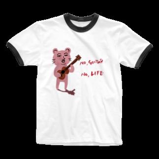 TACAのグッズ売り場のピン君 No Guitar No Life Ringer T-shirts