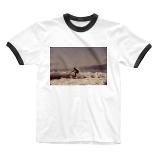 Surfing Along Malibu Beach, California. 10/1972 Ringer T-shirts