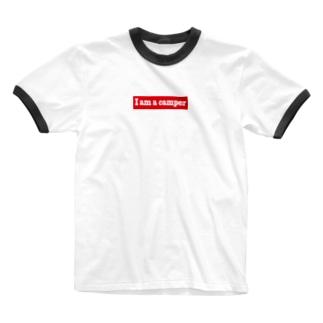 キャンプ大好き Ringer T-shirts