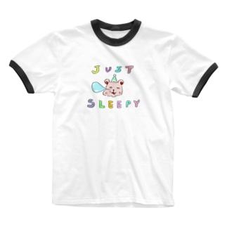 JUSTSLEEPYくま Ringer T-shirts