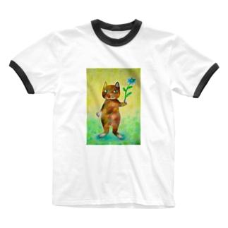 ニゲラとコケねこさん Ringer T-shirts