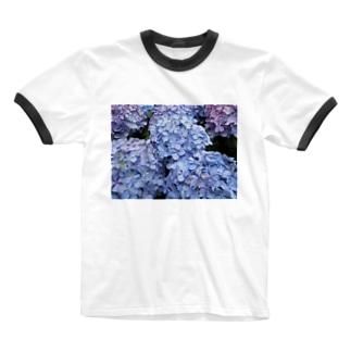 ハイドランジアブルー Ringer T-shirts