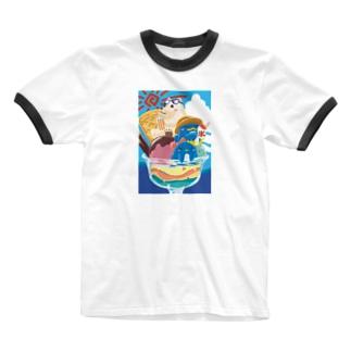 夏祭りパフェ Ringer T-shirts