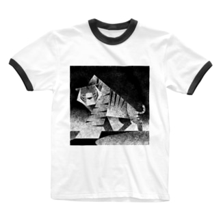 Monochrome tiger Ringer T-shirts