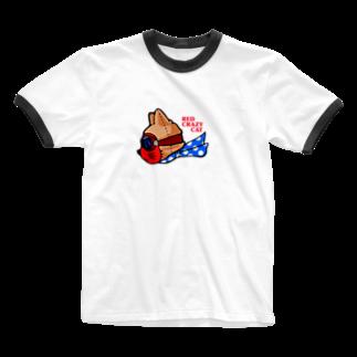 キクヤの赤猫 Ringer T-shirts