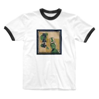 ラムネラベル Ringer T-shirts