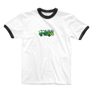 緑の消防車 Ringer T-shirts