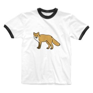 キタキツネ Ringer T-shirts