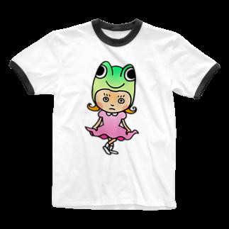 キクヤのゲコちゃん Ringer T-shirts