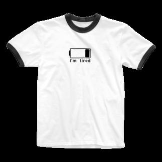 シンプル大好きの電池切れでお疲れ状態(BLACK_LOGO) Ringer T-shirts